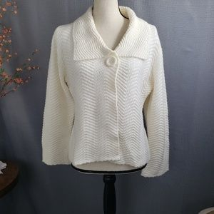 JM Collection Cardigan Sweater White One Button